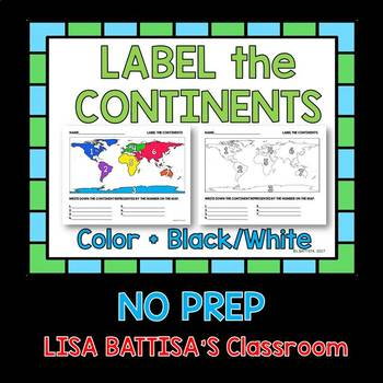 Continents Label Worksheet
