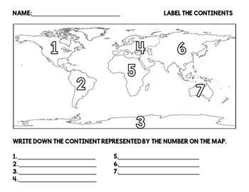 Label the 7 Continents and 5 Oceans Worksheet – careless.me
