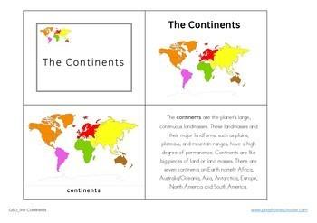 7 Continents Montessori 3 Part Cards
