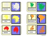 """""""Continents Map Match""""/Flashcards for Autism"""