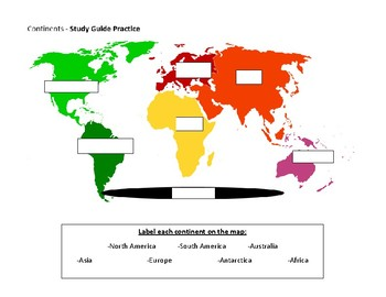 Continents Map - study guide & practice sheet