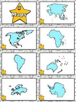 Continents: Maps of the Seven Continents Matching Game Sort - King Virtue
