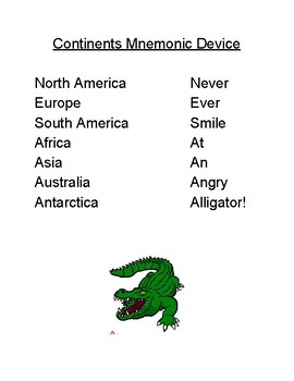 Continents Mnemonic Device