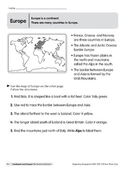 Continents & Oceans: Europe