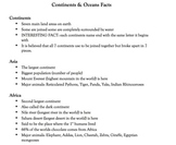 Continents & Oceans Facts