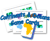 Continents/Oceans Game Cards