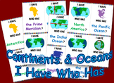 Continents/Oceans I Have Who Has
