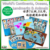 Continents, Oceans, Landmarks & Animals in Chinese + Pinyi