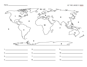 graphic relating to Printable Map of Continents and Oceans referred to as Continents And Oceans Maps Worksheets Coaching Elements TpT