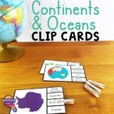 Continents & Oceans Pick 'n Flip Clip Cards Map Center Activity