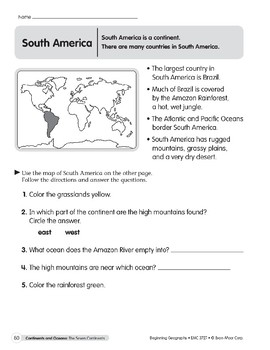 Continents & Oceans: South America