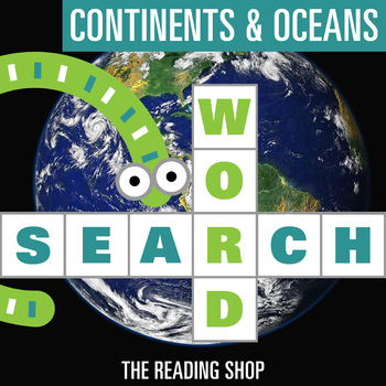 Continents & Oceans Word Search - Primary Grades - Wordsearch Puzzle