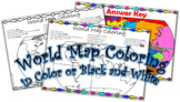 Continents/Oceans World Map Coloring