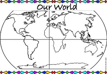 Continents Oceans World Map Labeling By Little River English Tpt