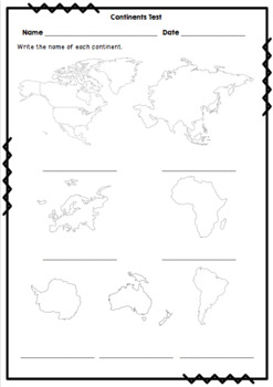 Continents, Oceans & World Map Tests