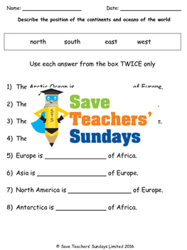 Continents, Oceans and Compass Points Lesson plan, Map and Worksheets