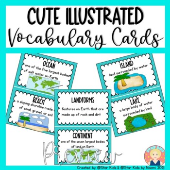 Continents, Oceans, and Landforms for Kindergarten and First Grade
