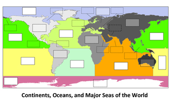 Continents, Oceans, and Major Seas of the World Interactive Game