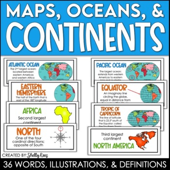 Continents and oceans posters and maps word wall by shelly rees tpt continents and oceans posters and maps word wall gumiabroncs Choice Image