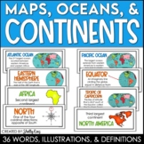 Continents and Oceans Posters and Maps Word Wall