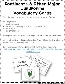 Continents & Other Major Landforms Vocabulary Cards