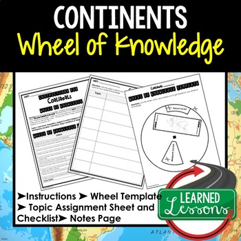 Continents Project Activity, Wheel of Knowledge Interactive Notebook