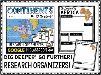 Continents Report and Informational Writing Google Classroom Activities