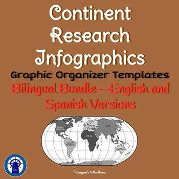 Continents Research Infographic Templates Graphic Organizer Bilingual Bundle