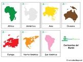 Continents: *SPANISH* Montessori 3-part cards