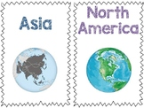 Continents Table Markers