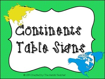 Continents Table Signs