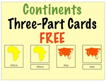 Continents Three Part Cards (FREE)