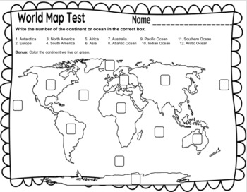 World Map Test By Mary Bown Teachers Pay Teachers