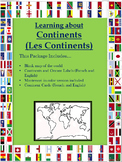 Continents World Map and Individual continent maps. PLUS Montessori world map