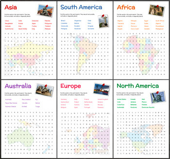 Continents and Countries (Word Searches)
