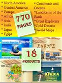 America Europe Asia Africa Japan India Geography  BUNDLE distance learning