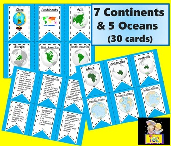 Continents and  Oceans - 30 Cards - Facts
