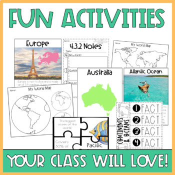 Continents and Oceans Activities