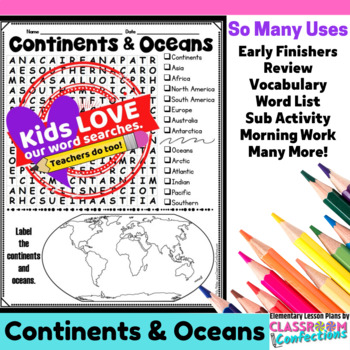 Continents and Oceans Activity: Continents and Oceans Word Search