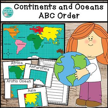 Continents and Oceans Alphabetical Order Literacy Center Activity