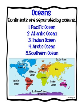 Continents and Oceans Anchor Charts