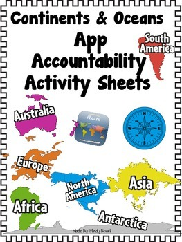 Continents and Oceans App and FREE Accountability Activity Sheets