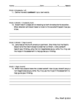 Continents and Oceans Assessment Form A