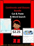Continents and Oceans Bundle (Word Search and Worksheet)