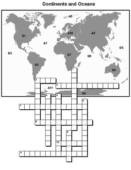 Continents and Oceans CROSSWORD PUZZLE