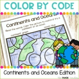 Continents and Oceans Color by Code