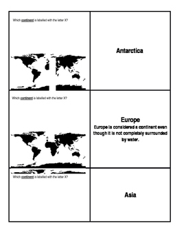 Continents and Oceans Flashcards and Matching Game SOL USI.2 Common Core
