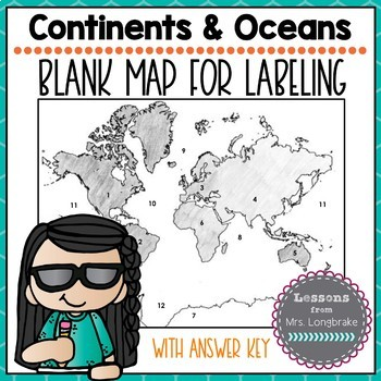 Blank Continents Map: Identify and Label with Key