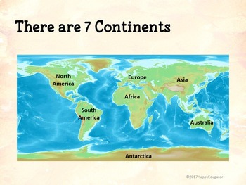 Continents and Oceans Geography PowerPoint, Interactive Quizzes, Printable  Book