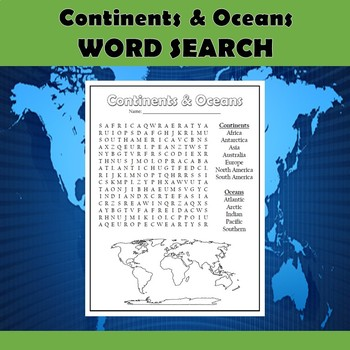 Continents and Oceans Geography Vocabulary Word Search Puzzle